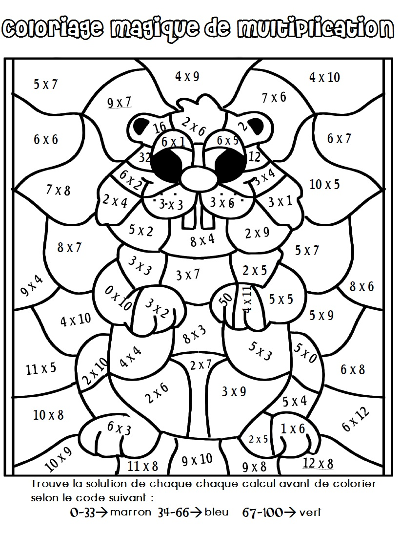 Multiplication ma maitresse de cm1 cm2 - Coloriage magique table de multiplication cm2 ...