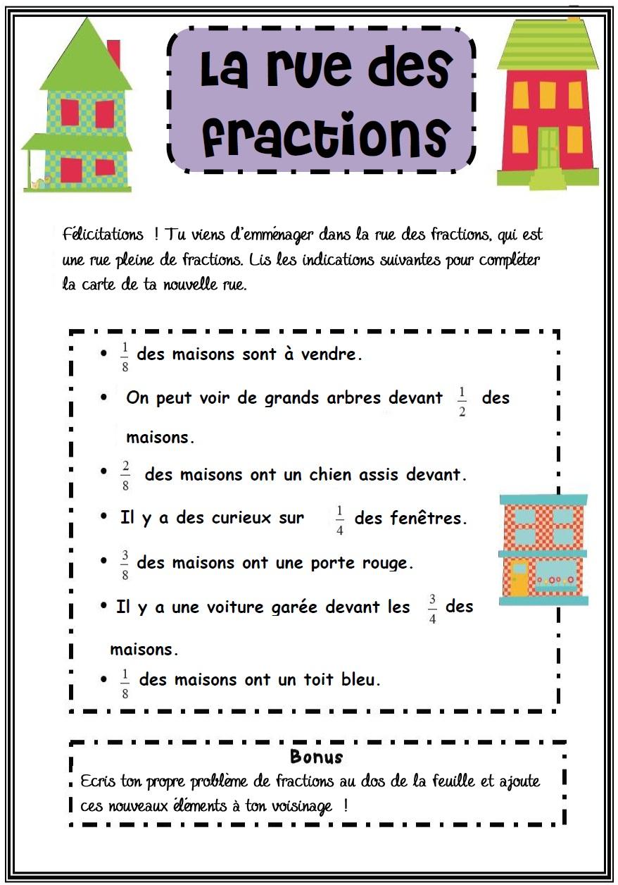 La Rue Des Fractions Un Probleme Original Ma Maitresse De Cm1 Cm2