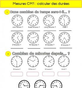 Calculs De Durees En Cm1 Ma Maitresse De Cm1 Cm2