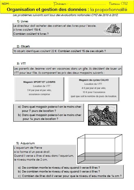 La proportionnalité : mémos et exercices pour les CM2 | MA ...