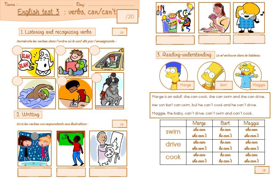 Une évaluation d'anglais sur les verbes et les capacités ...