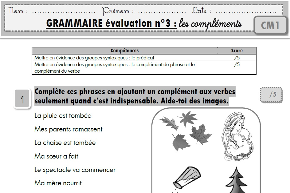 evaluation | MA MAITRESSE DE CM1-CM2